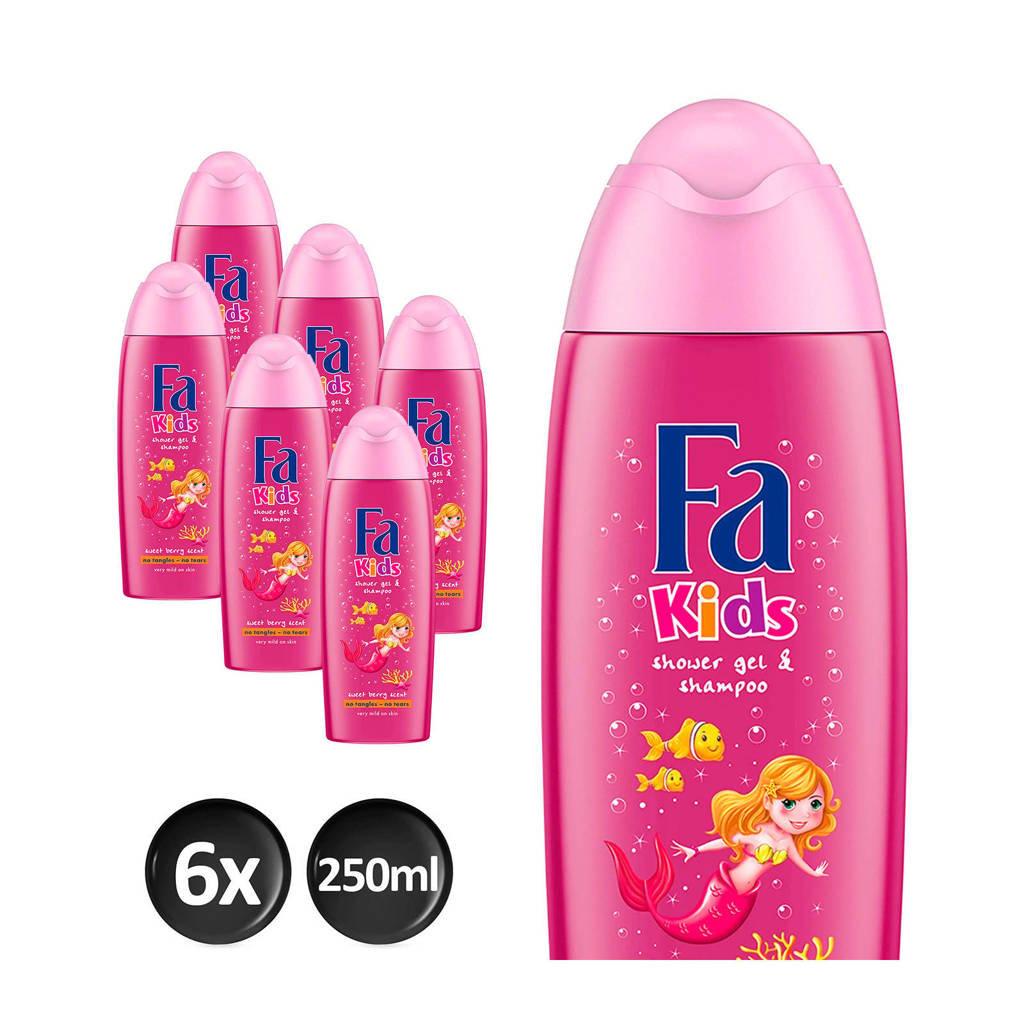 Fa Kids Douche & Shampoo Mermaid - 6x 250ml multiverpakking