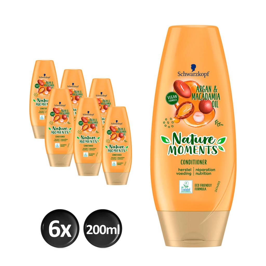 Schwarzkopf Nature Moments Moroccan Argan Oil&Macadamia Oil conditioner - 6x 200 ml multiverpakking