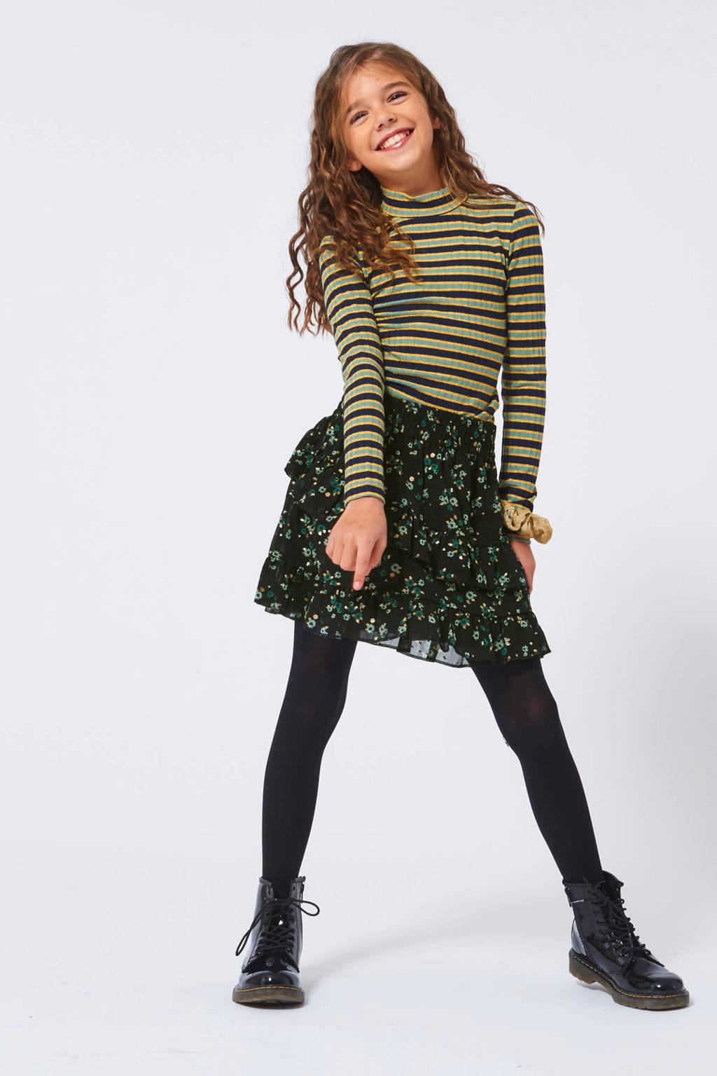 America Today Junior gebloemde rok Ruby zwart/groen, Zwart/groen