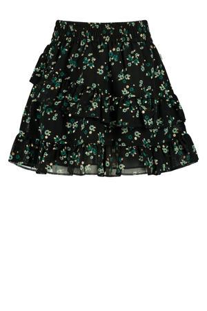 gebloemde rok Ruby zwart/groen