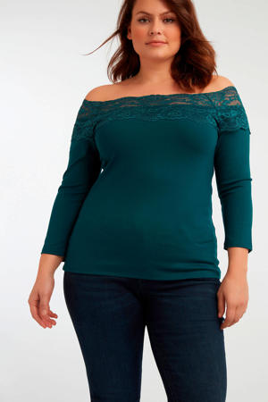 off shoulder top met kant petrol