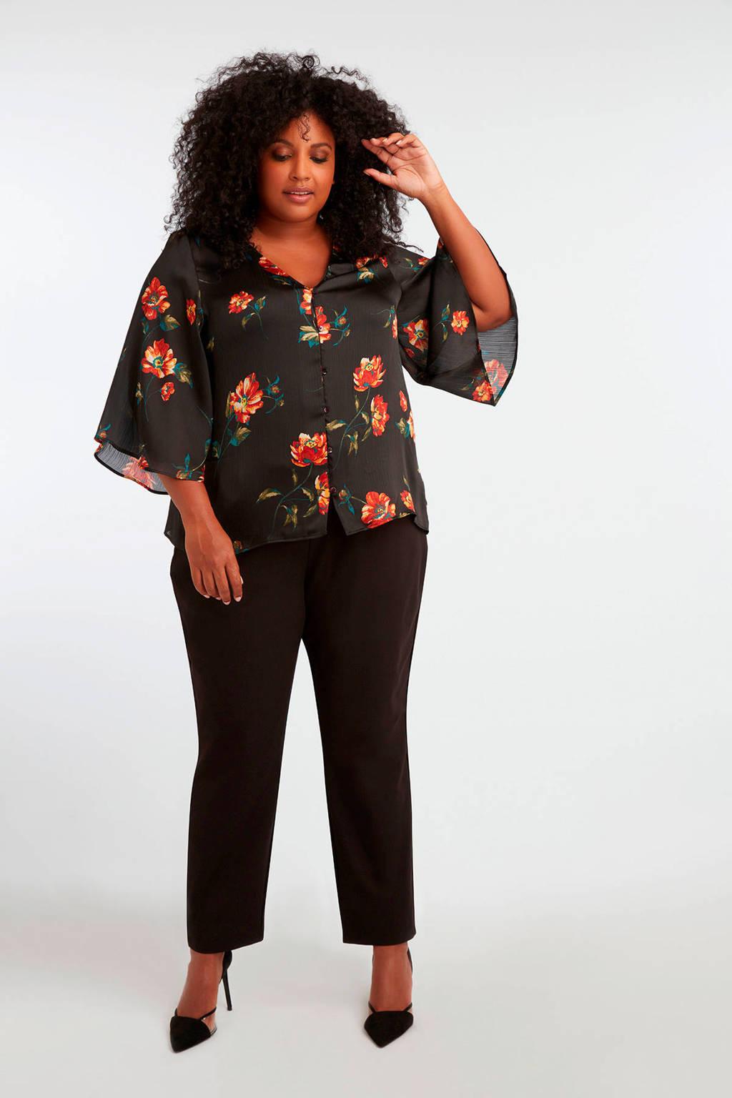 MS Mode gebloemde blouse zwart, Zwart