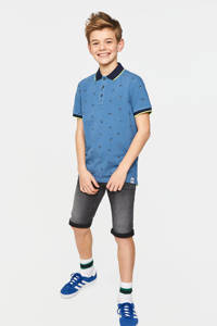 WE Fashion polo met all over print blauw/donkerblauw/neon geel, Blauw/donkerblauw/neon geel