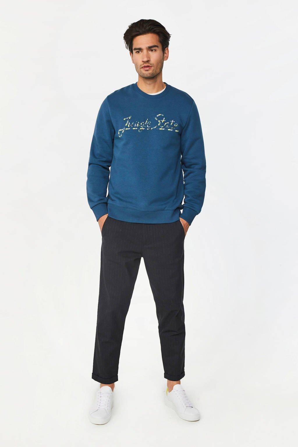 WE Fashion sweater met printopdruk blauw, Blauw