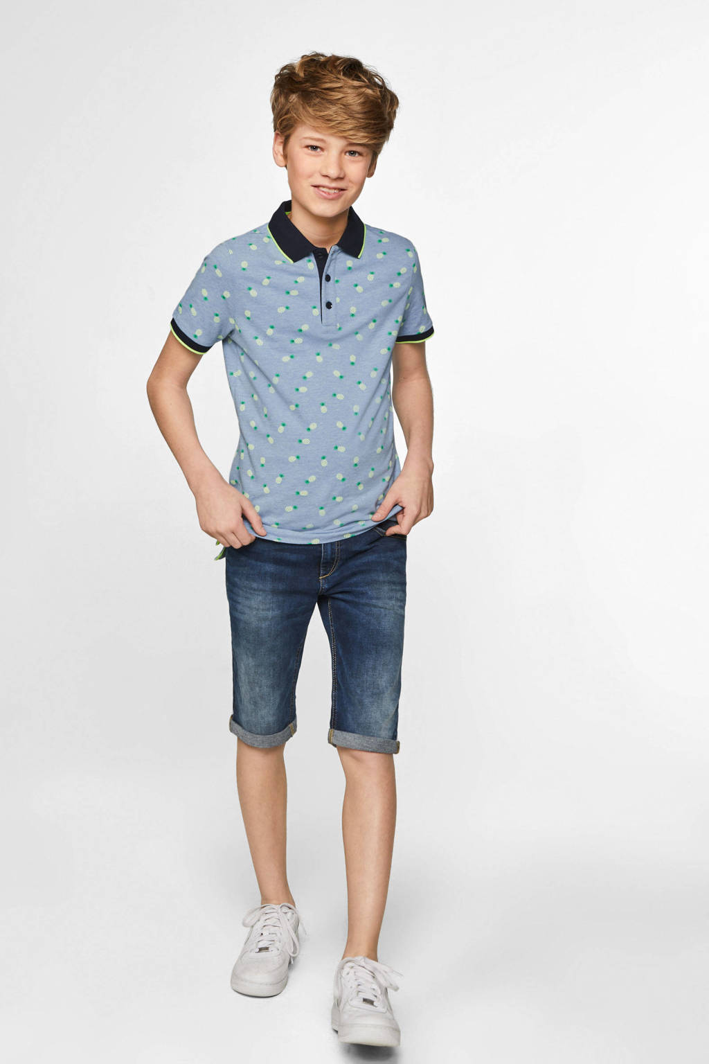 WE Fashion polo met contrastbies blauw, Blauw