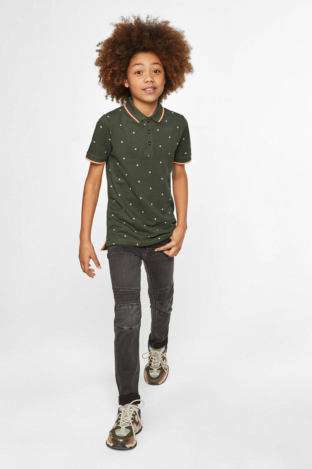 WE Fashion geruite polo met contrastbies groen, Groen