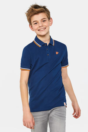 polo met contrastbies donkerblauw