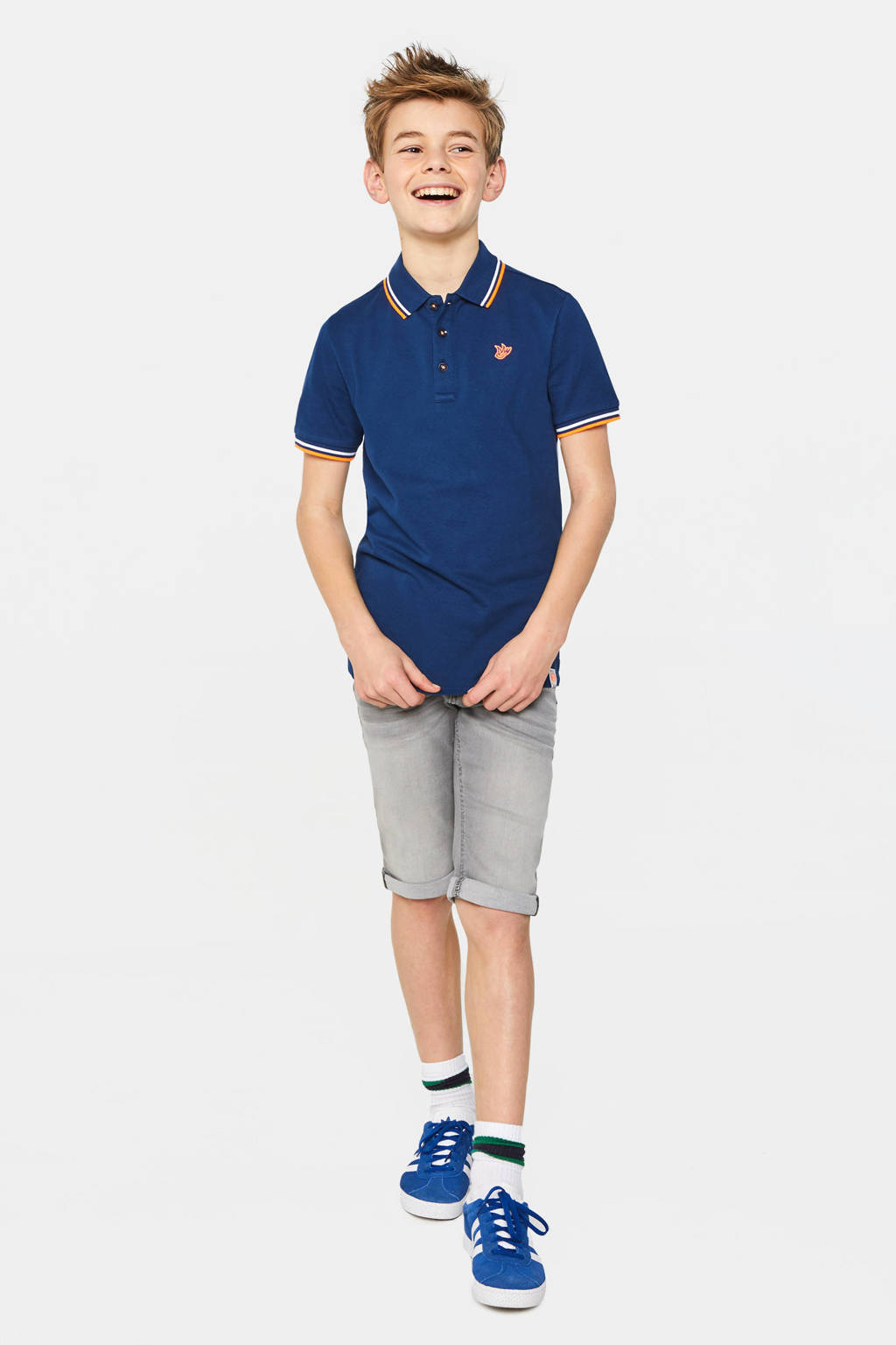 WE Fashion polo met contrastbies donkerblauw, Donkerblauw