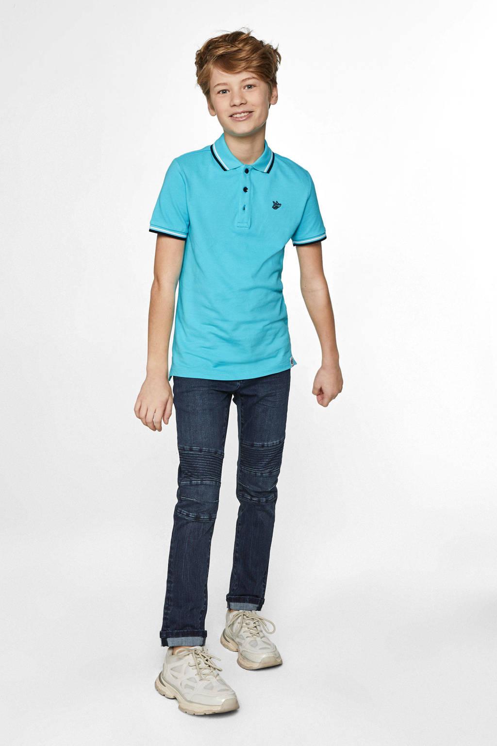 WE Fashion polo met contrastbies blauw, Blauw
