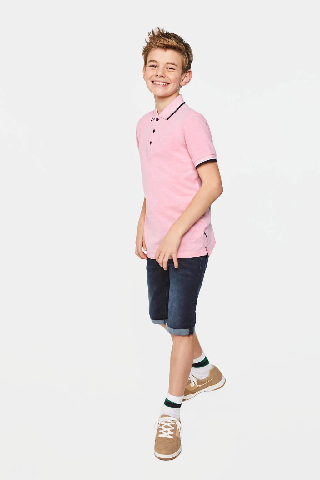 WE Fashion polo met borduursels lichtroze/donkerblauw/wit, Lichtroze/donkerblauw/wit
