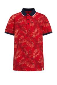 WE Fashion polo met bladprint rood/donkerrood/donkerblauw, Rood/donkerrood/donkerblauw
