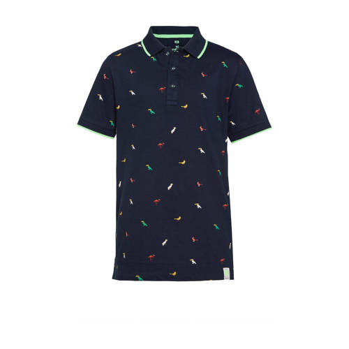 WE Fashion polo met contrastbies donkerblauw