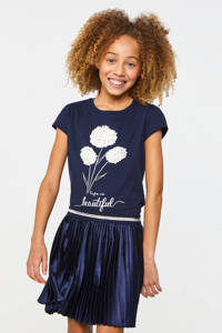 WE Fashion T-shirt met printopdruk en 3D applicatie donkerblauw/wit, Donkerblauw/wit