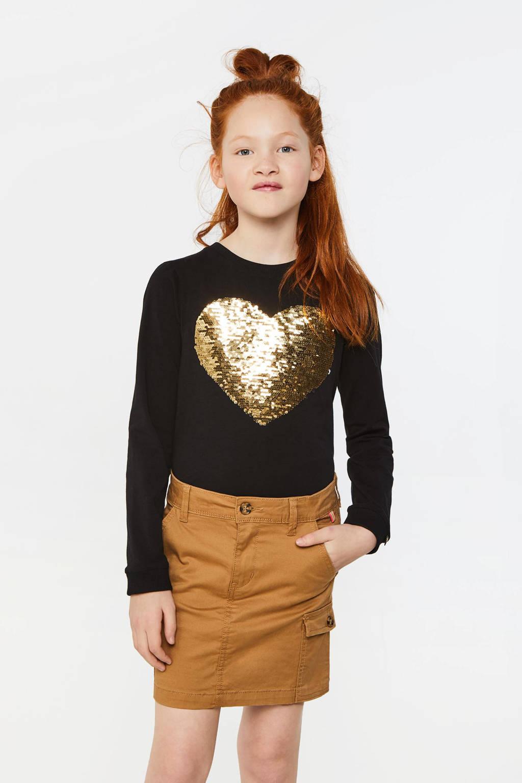 WE Fashion longsleeve met omkeerbare pailletten zwart/goud, Zwart/goud