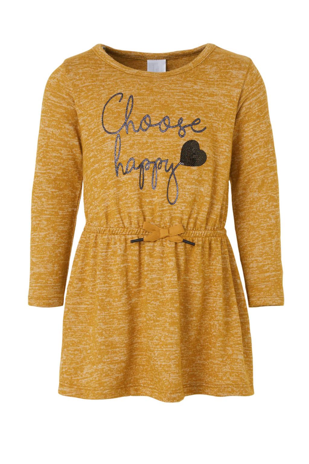 C&A Palomino jurk met tekst en pailletten camel/zwart, Camel/zwart
