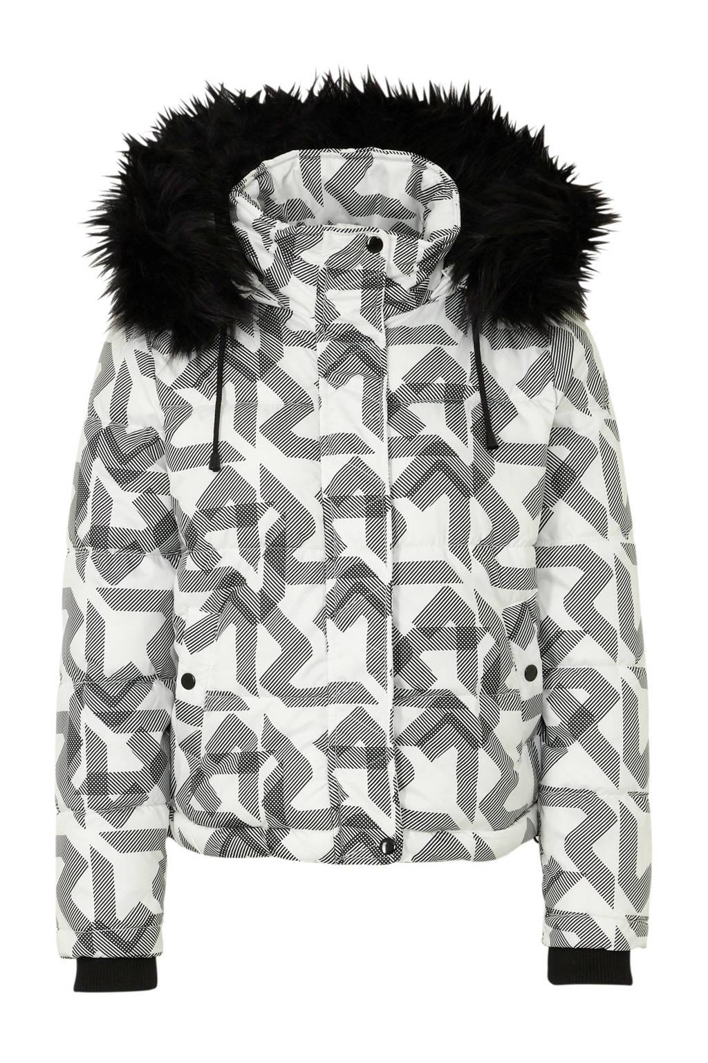 C&A Clockhouse gewatteerde winterjas met all over print wit/zwart, Wit/zwart