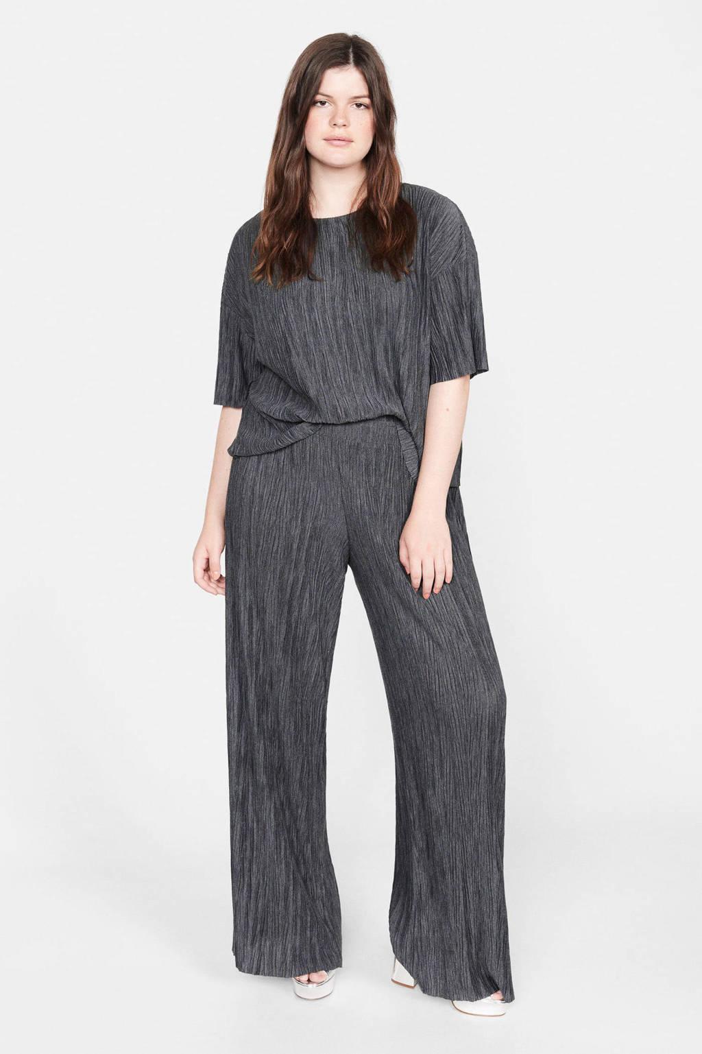 Violeta by Mango loose fit broek met textuur grijs, Grijs