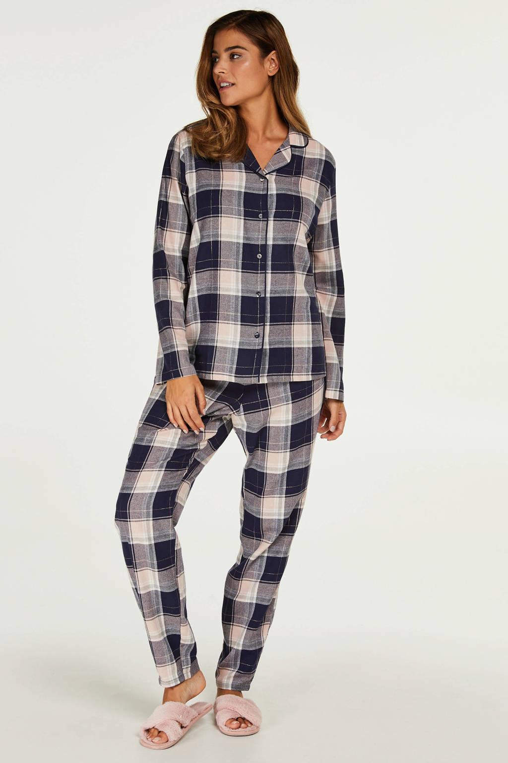 Hunkemöller geruite pyjama marine/wit, Blauw