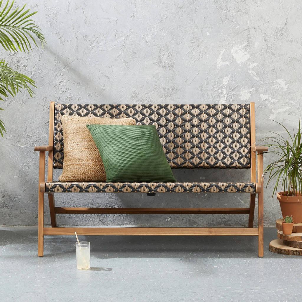 Wehkamp Home tuinbank Bowen, Teak/beige/zwart