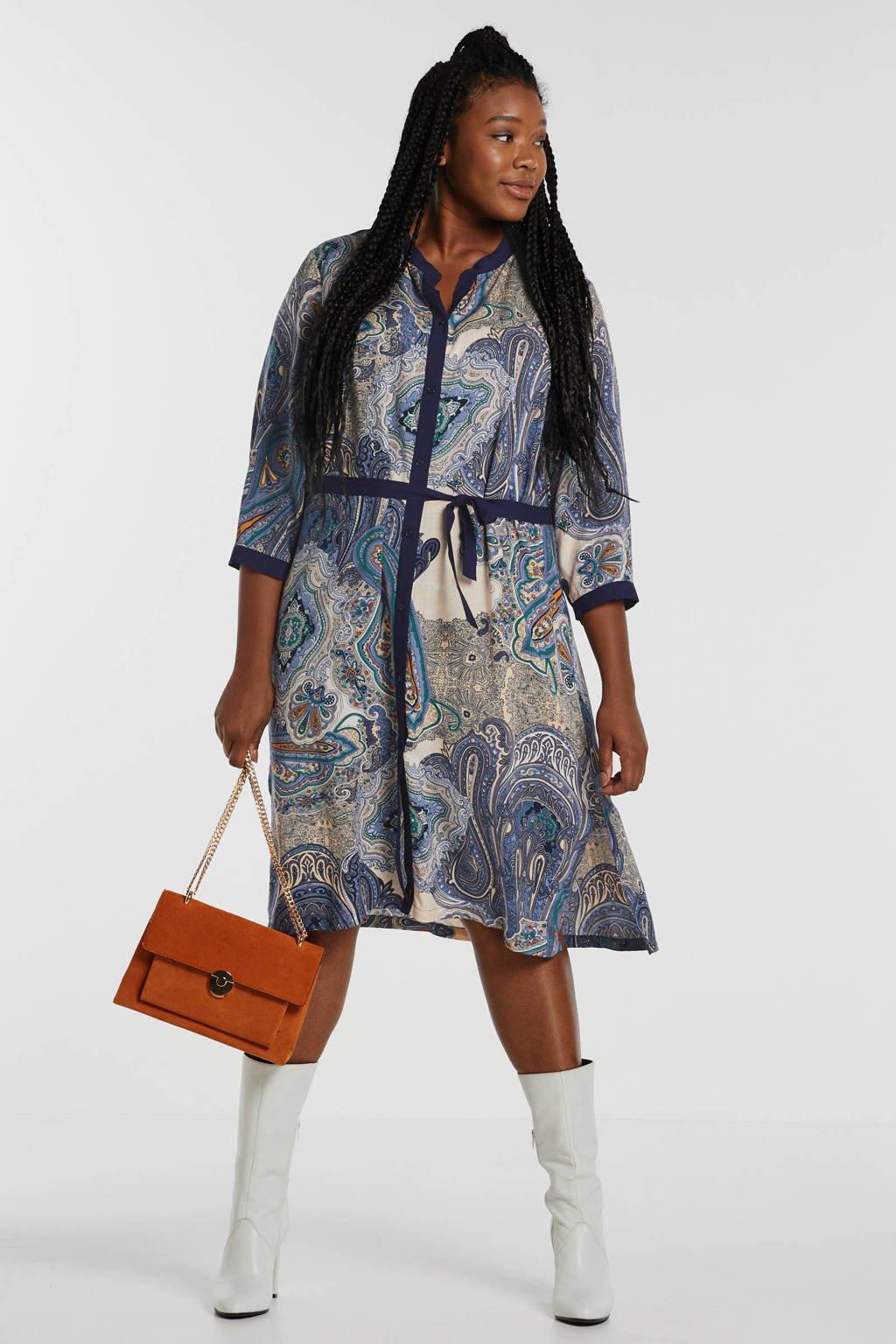 Ciso blousejurk met paisleyprint wit/blauw, Wit/blauw