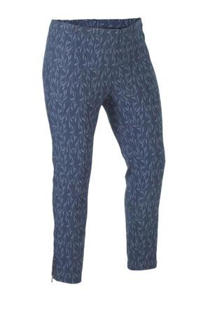 cropped slim fit broek met all over print donkerblauw