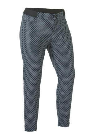 cropped slim fit broek met all over print blauw