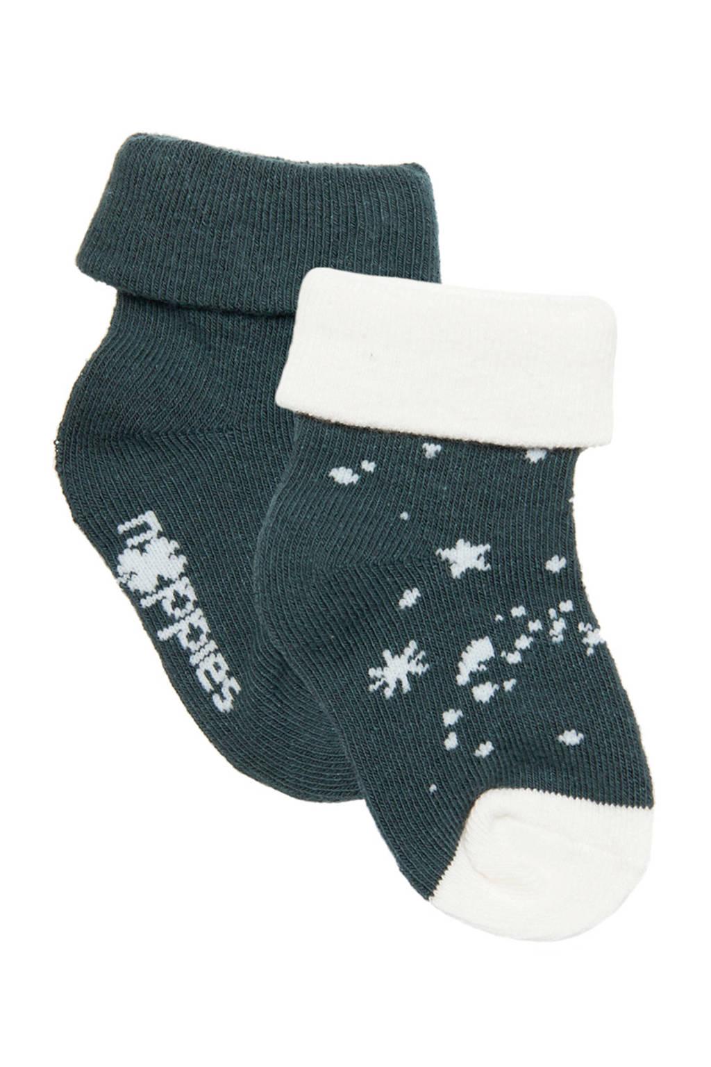 Noppies newborn baby sokken- set van 2 blauw/wit, Dark Slate-P558