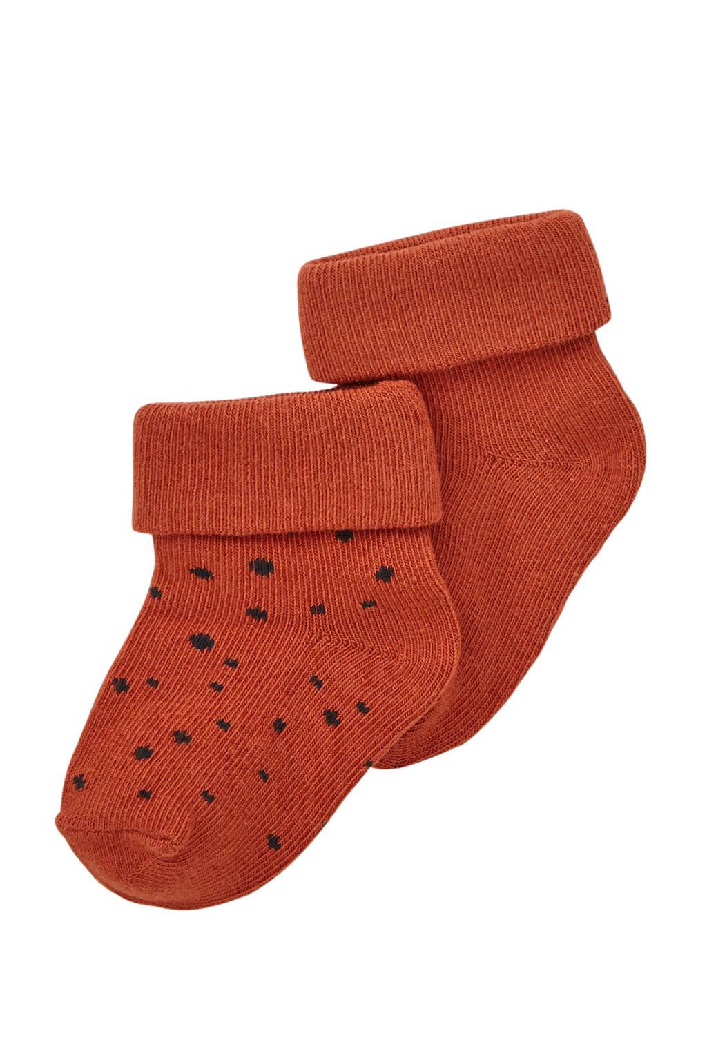 Noppies newborn baby sokken- set van 2, Donkeroranje