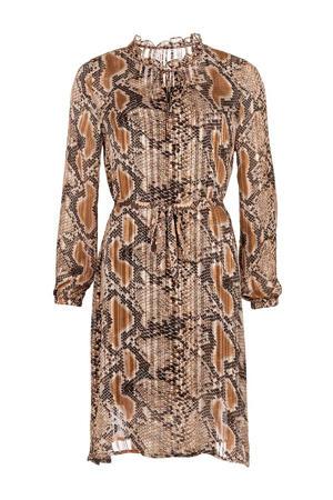 jurk Maddie met slangenprint bruin