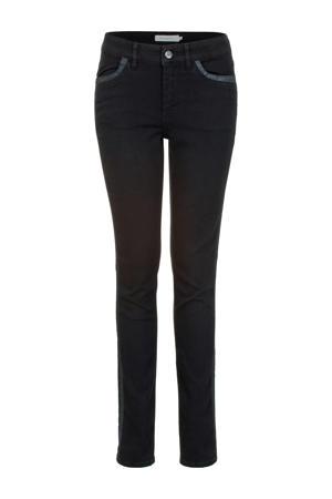 skinny jeans met zijstreep zwart