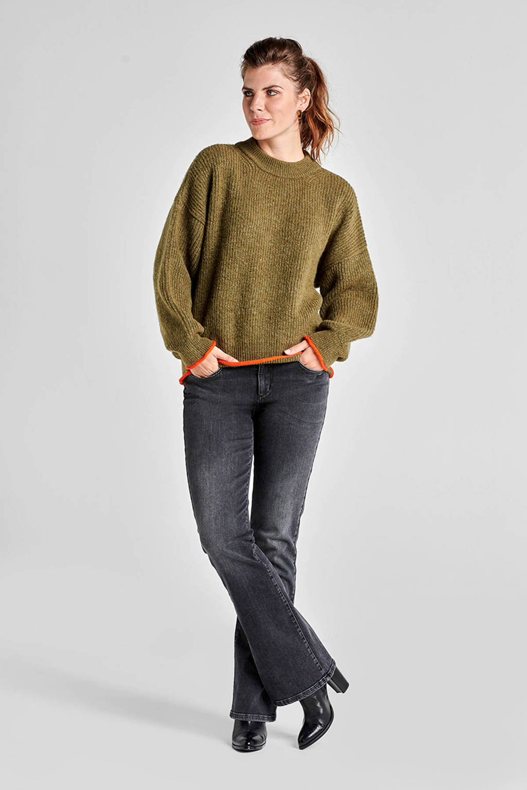 Miss Etam Regulier trui met contrastbies groen, Groen