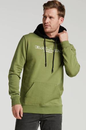 Ballin by hoodie met tekst groen/zwart