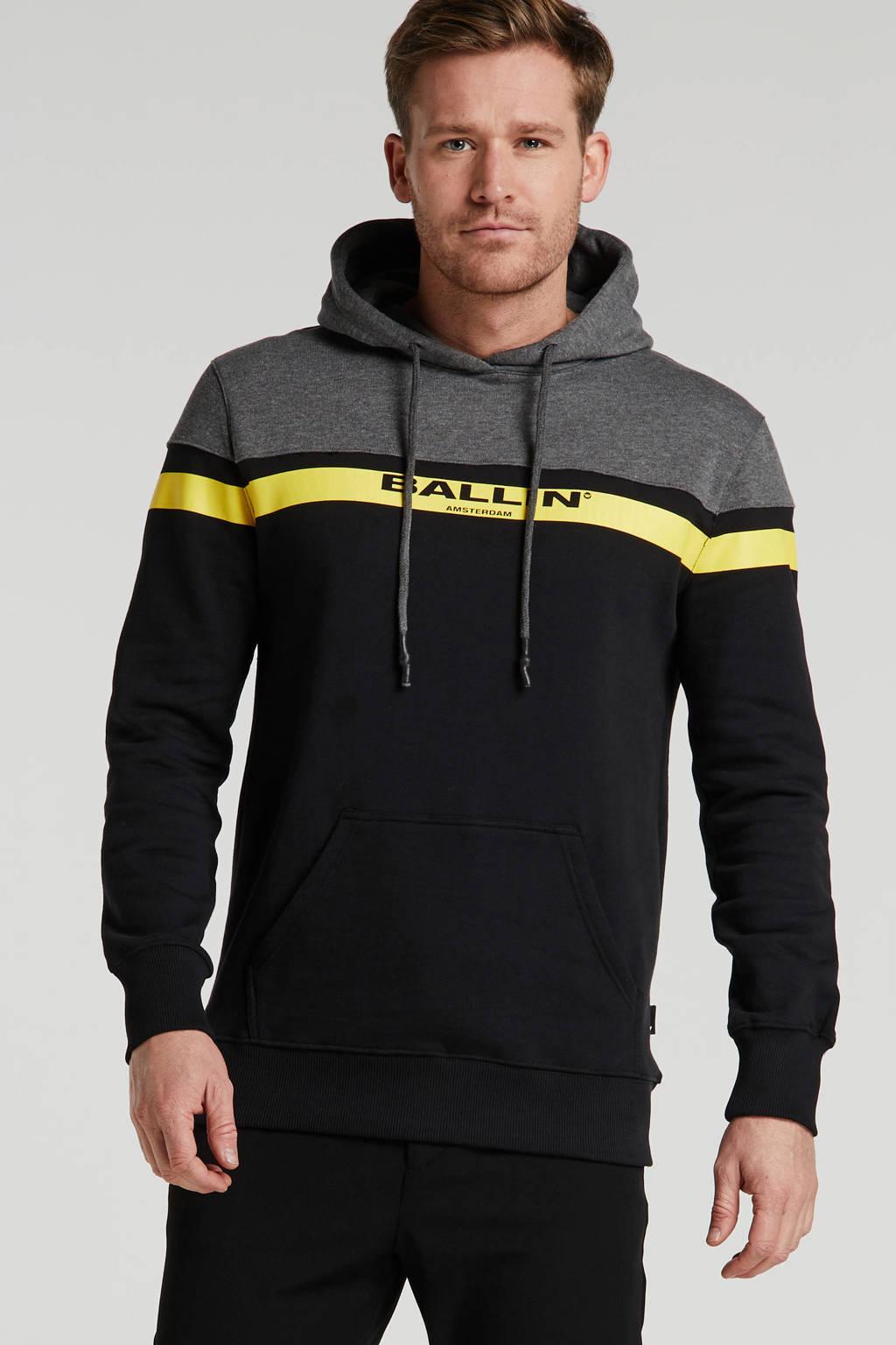 Ballin by Purewhite hoodie zwart/grijs/geel, Zwart/grijs/geel