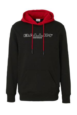 Ballin by hoodie met tekst zwart/rood