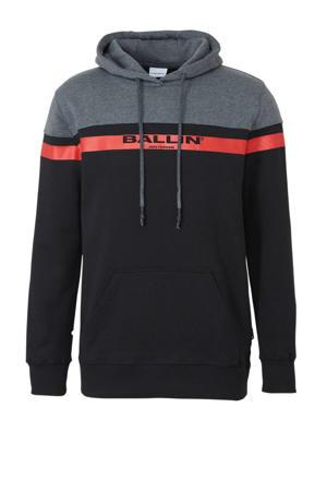 hoodie met tekst zwart/grijs/rood