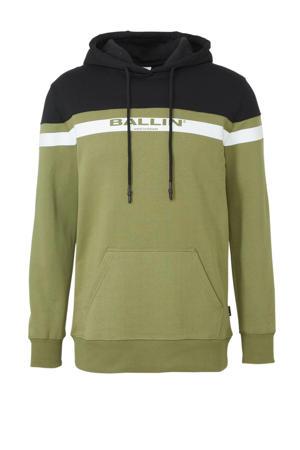 Ballin by hoodie met tekst groen/zwart/wit