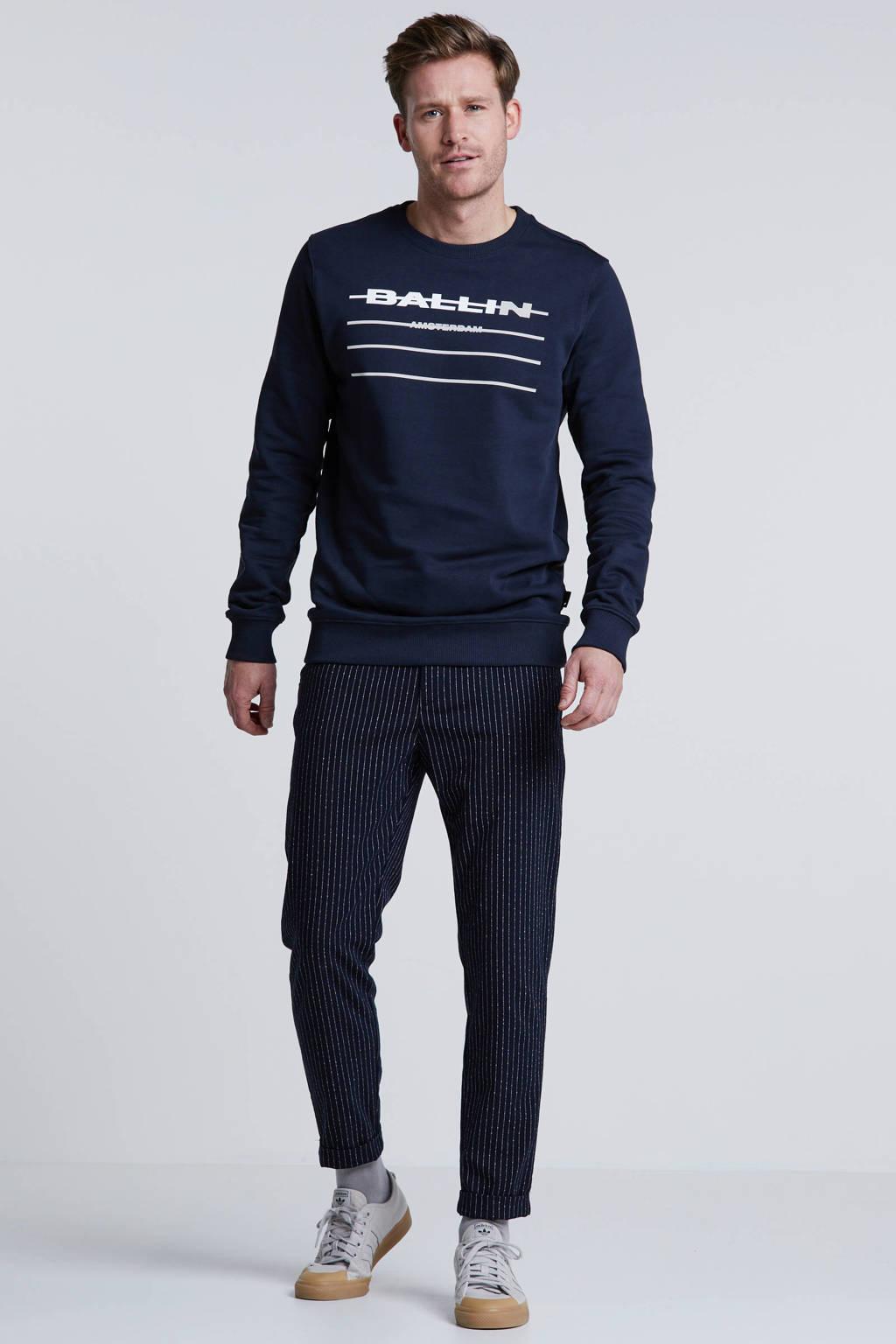 Ballin by Purewhite sweater met printopdruk donkerblauw, Donkerblauw