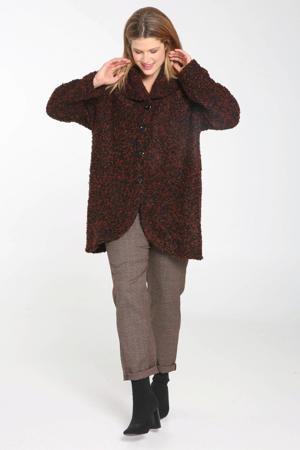 gemêleerde teddy jas bruin/zwart