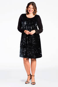 Yoek A-lijn jurk met pailletten zwart, Zwart