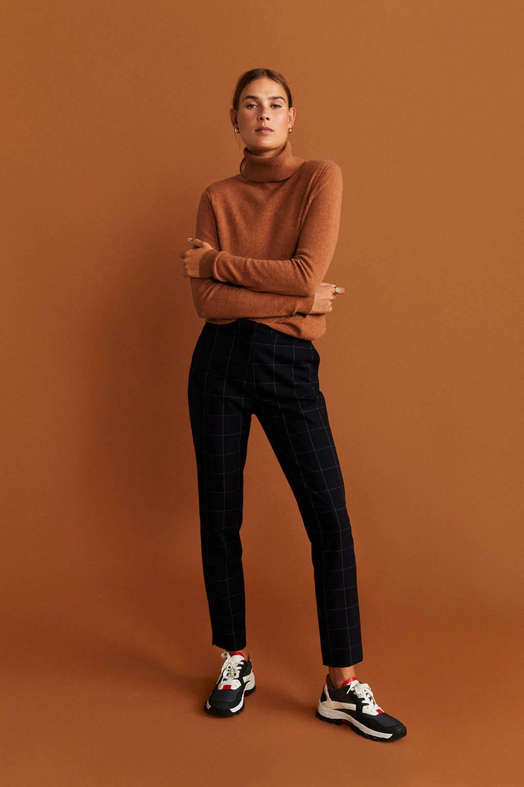 Mango geruite straight fit pantalon donkerblauw, Donkerblauw