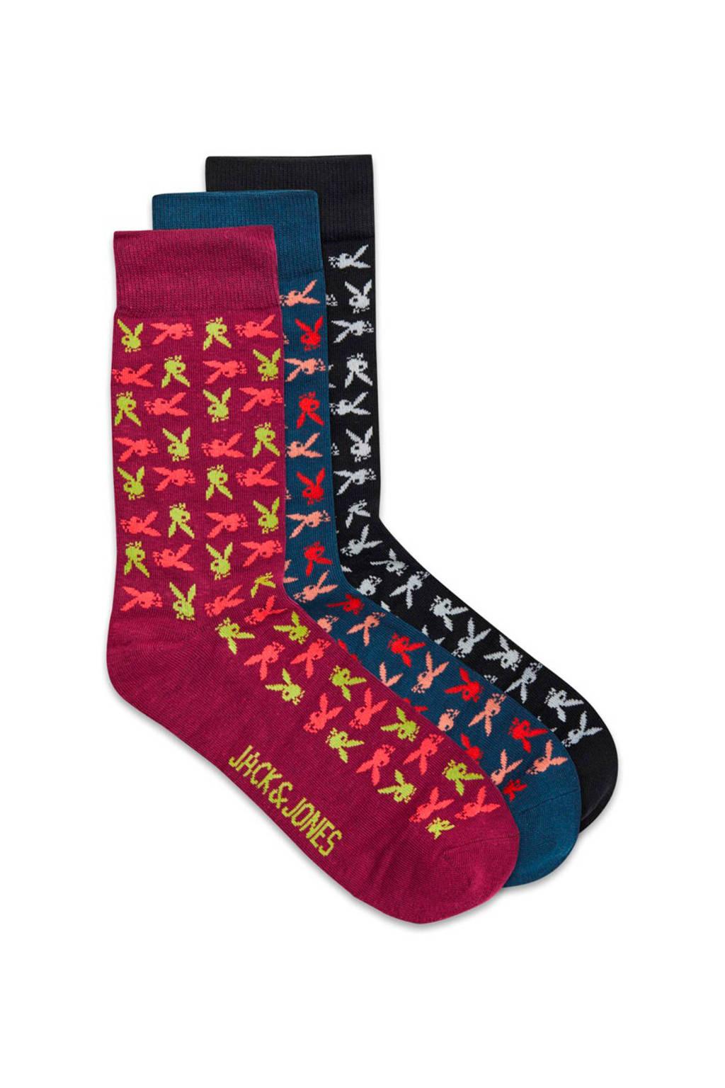 JACK & JONES giftbox sokken 3 paar, Zwart/rood/blauw