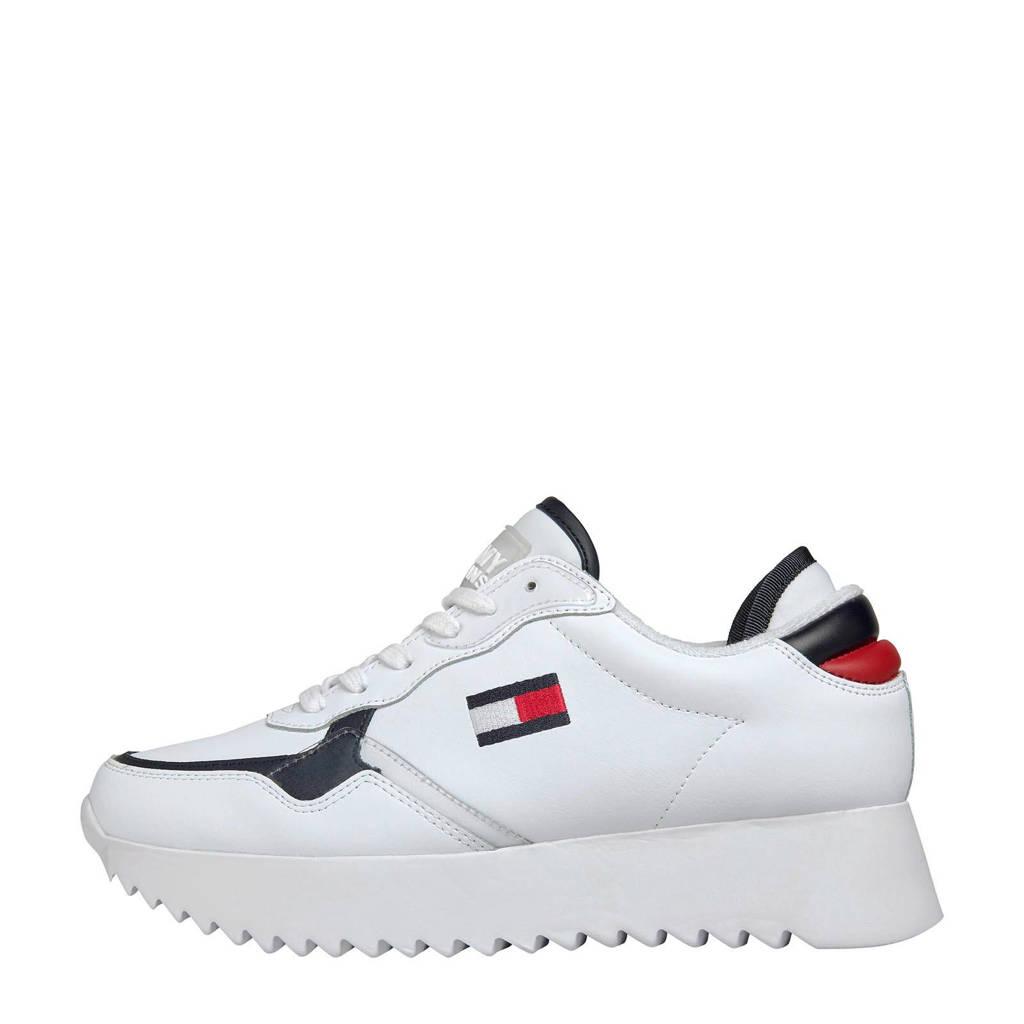 Tommy Jeans   leren plateau sneakers wit, Wit/multi