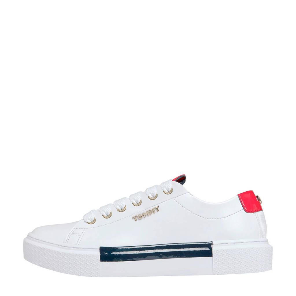 Tommy Hilfiger   leren sneakers wit, Wit/goud