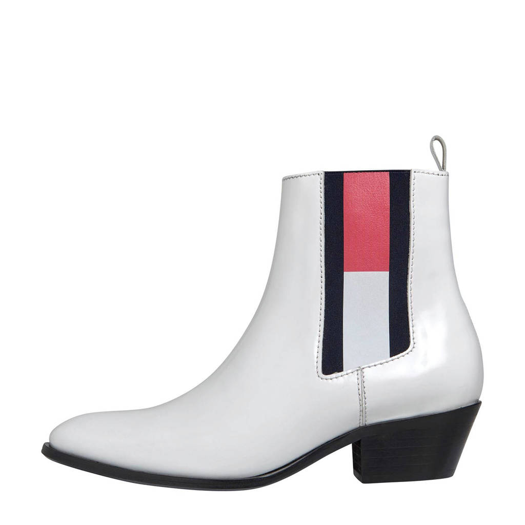Tommy Jeans   leren chelsea boots wit, Wit/rood