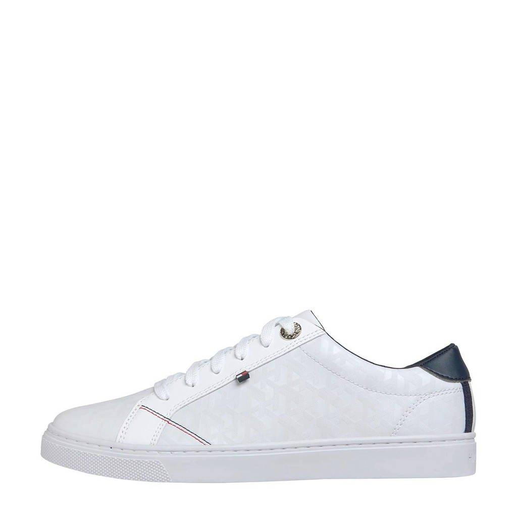 Tommy Hilfiger Jacquard  leren sneakers wit, Wit