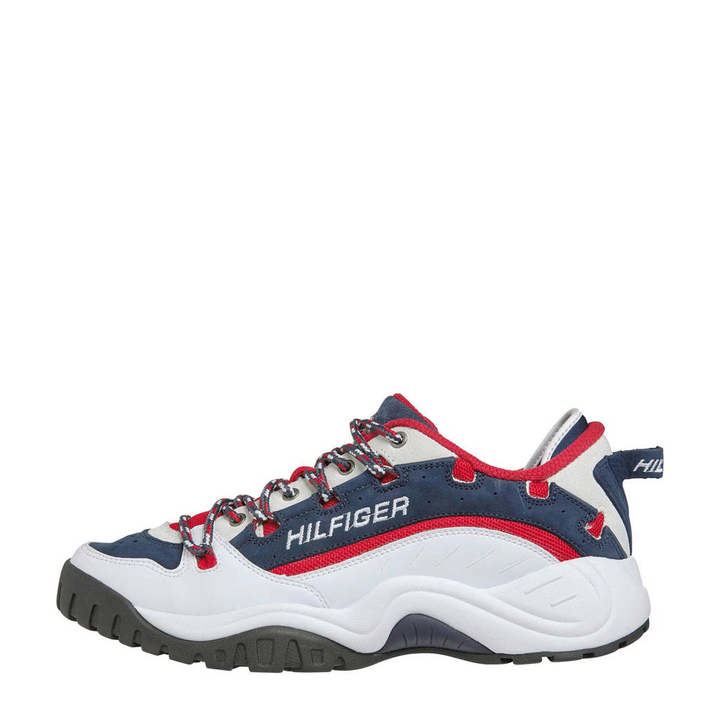 Tommy Jeans Heritage  leren chunky sneakers wit/multi, Wit/rood/blauw