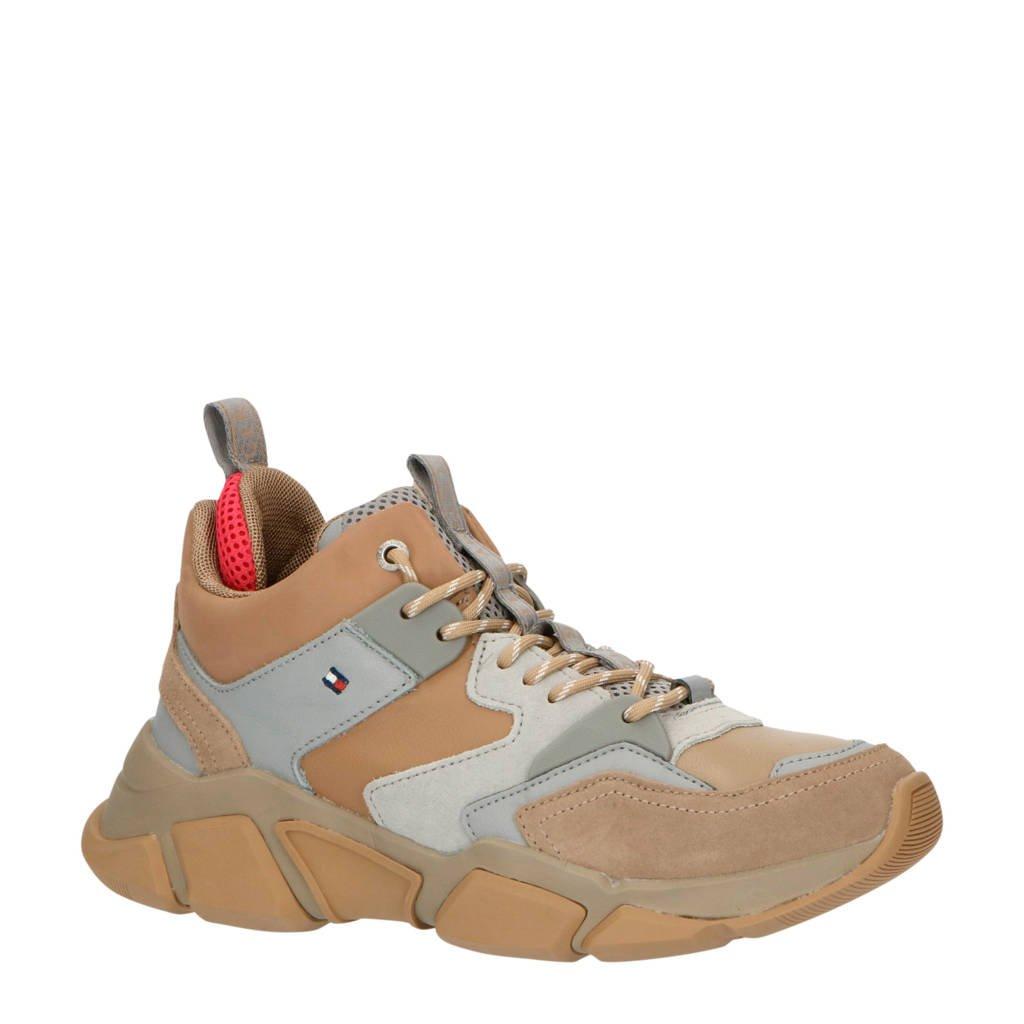 Tommy Hilfiger Mid Cut  halfhoge leren sneakers beige, Beige/grijs