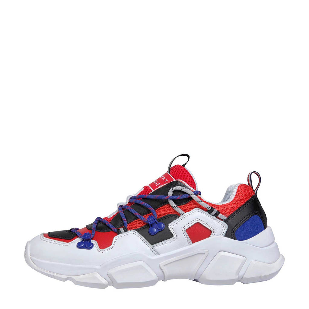 Tommy Hilfiger City Voyager  leren chunky sneakers rood, Rood/wit/blauw