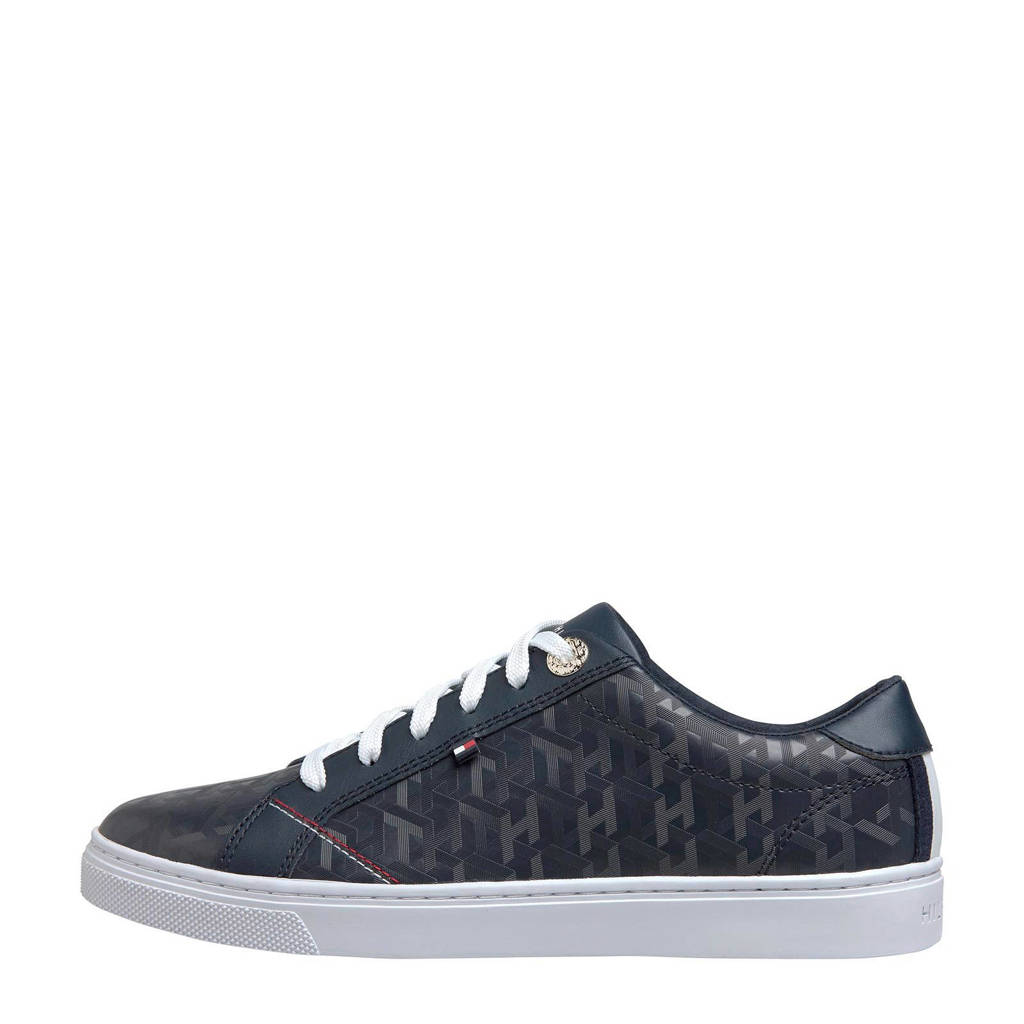 Tommy Hilfiger Jacquard  leren sneakers donkerblauw, Donkerblauw