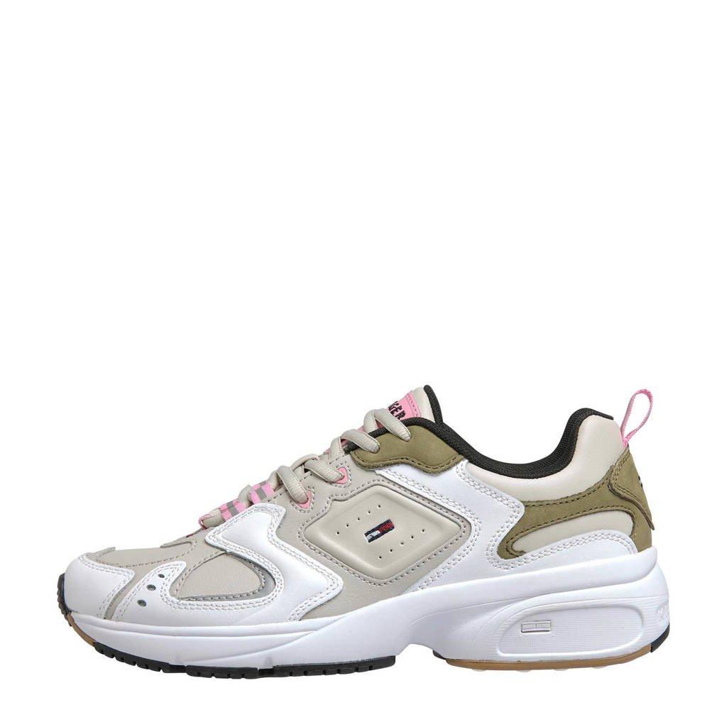 Tommy Jeans   leren chunky sneakers beige/lichtroze, Beige/lichtroze